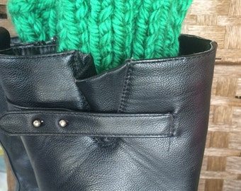 Boot cuffs, Green leg warmers,  Boot accessories, One Size Fits All winter fashion for women, outlander inspired