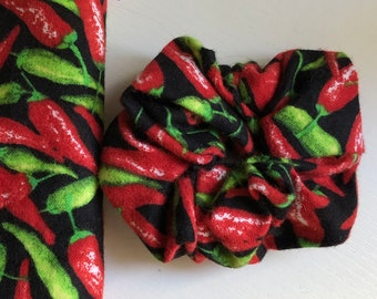 Hair ties, Red and green hot chilli peppers Holidays scrunchies, stocking stuffers, Christmas hair Ties, holiday fashion,