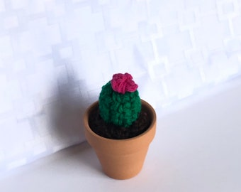 "Mini 3"" cactus, miniature crocheted cactus, mini cacti, amigurumi , cactus toy, succulent lover gift , teachers gift, cactus with flower"