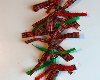 Christmas tree rustic ornaments, festive red and green rustic tree,  ribbon holiday decorations, country decor, mantel decoration