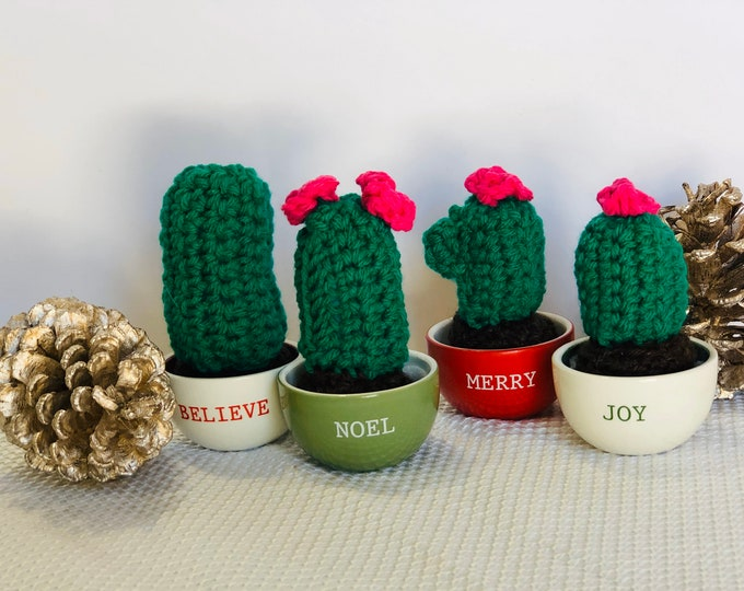 Featured listing image: Mini cactus, miniature crocheted cactus, mini cacti on Christmas pot, amigurumi , holiday gift, succulent, nature lover gift , teachers gift