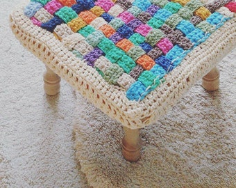Ready to ship checkered Crochet Square stool cover, home decor, Kids Baby room decor, nursery, seat cover