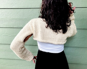 Crop sweater, beige Accessories, long sleeve sweater , handmade sweater , fall fashion, gift for Mom , gift for teen, scarves and wraps