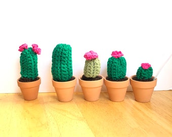 Mini cactus, set of 5 miniature crocheted cactus set, mini cacti, amigurumi , cactus toy, succulent, nature lover gift , teachers gift