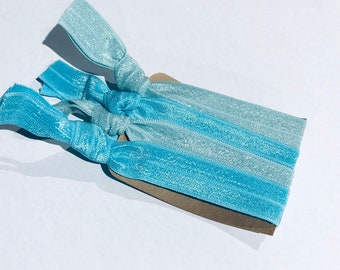 Hair ties , set of 4 glittery blue hair ties, stocking stuffers, Christmas gift ideas , hair Ties, workout, hair fashion