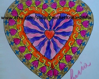 Art Downloadable Mandala Heart Art Mandala Pencil Art Finish Ready to Print - Instant Download