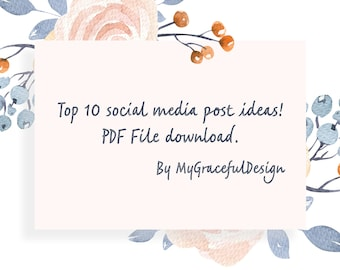 Downloadable Social media content, 10 ideas for social media content for your posts, unique ideas, content planner
