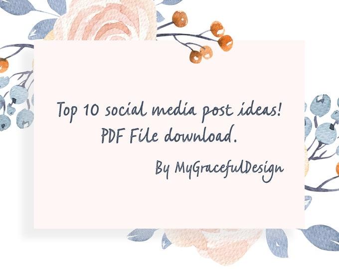Featured listing image: Downloadable Social media content, 10 ideas for social media content for your posts, unique ideas, content planner