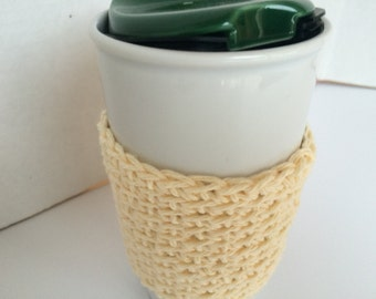 Simple Cream Color Cup Cozy Cup Sleeve, Crochet Coffee Sleeve, Reusable Coffee Cozy, Eco friendly cup cozy