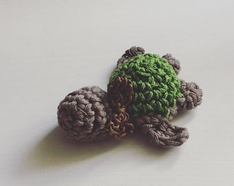 Toy, green and brown amigurumi mini turtle with bow tie, FREE Shipping, Miniature DollHouse Toy, Crocheted turtle