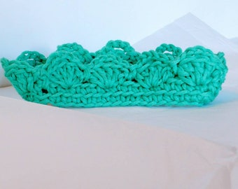 Hat Baby toddler Headband , Ready to Ship green hat, Babyshower gift Baby photo prop , gender neutral Baby crochet crown