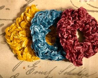Velvet scrunchies, set of 3 velvet scrunchies, hair ties, gift for her, hair fashion, crocheted velvet scrunchies, velvet accessories