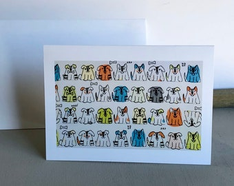 Dog card, pet art,  dog mom gift, Four rows of Happy Dogs art, Office decoration ,dog Nursery decor, pet lover gift, dog cards