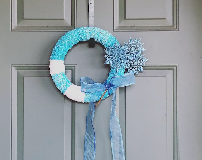 Featured listing image: Wreath , blue and white christmas door decoration , holiday wreath, home decorations