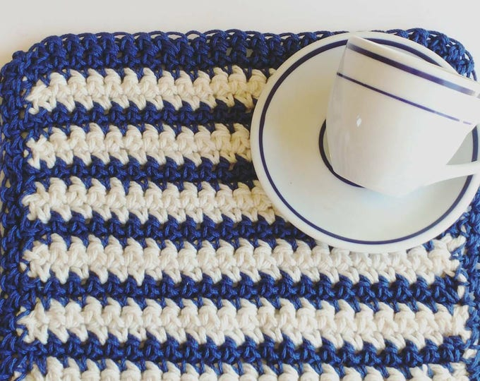 Featured listing image: Trivet, blue beige nautical inspired Pot Holder, coastal crochet washcloth, housewarming gift kitchen dining decor home and living
