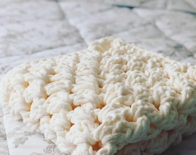 Featured listing image: Baby Blanket Newborn Baby Delicate, Cozy Granny Square Newborn Baby Blanket - Great Photography Prop