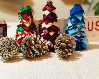 Christmas trees, set of trees , blue holiday decor, jingle bells, rustic decoration , holiday mantel decorations, traditional Christmas