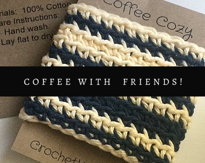 Featured listing image: Indigo Blue and Cream Cup Cozy, coffee mug Sleeve, Reusable crochet Cozy, Eco friendly gifts