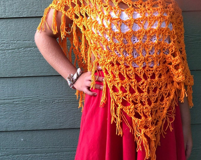 Featured listing image: Poncho, orange Accessories, beach outfit , bikini cover, gift for Mom , gift for teen, summer wraps , fall wraps, chic crochet poncho, beach