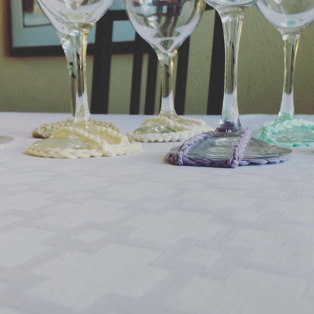 Wine glass base cover pastel and bold colors Eco Friendly Crochet goblet base covers entertaining table setting dinner setting table decor & Wine glass base cover pastel and bold colors Eco Friendly Crochet ...