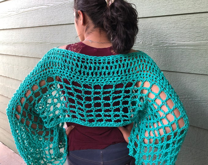 Featured listing image: Crop sweater, green Accessories, sea green crop top, beach outfit , bikini cover, gift for Mom , gift for teen, summer wraps , fall wraps