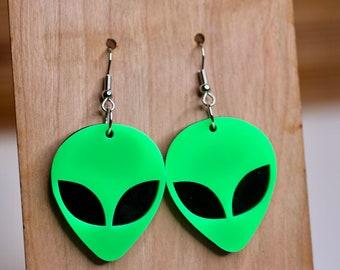 Moonlight alien head earrings