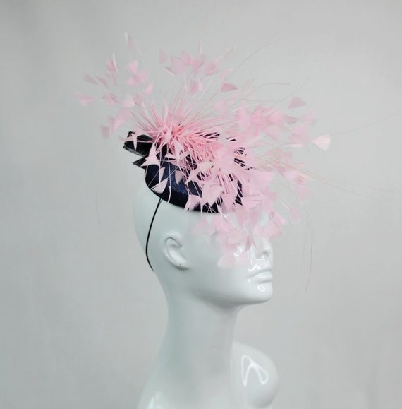 Navy and Baby Pink Fascinator Feather Fascinator Crazy Hat  320e0637908