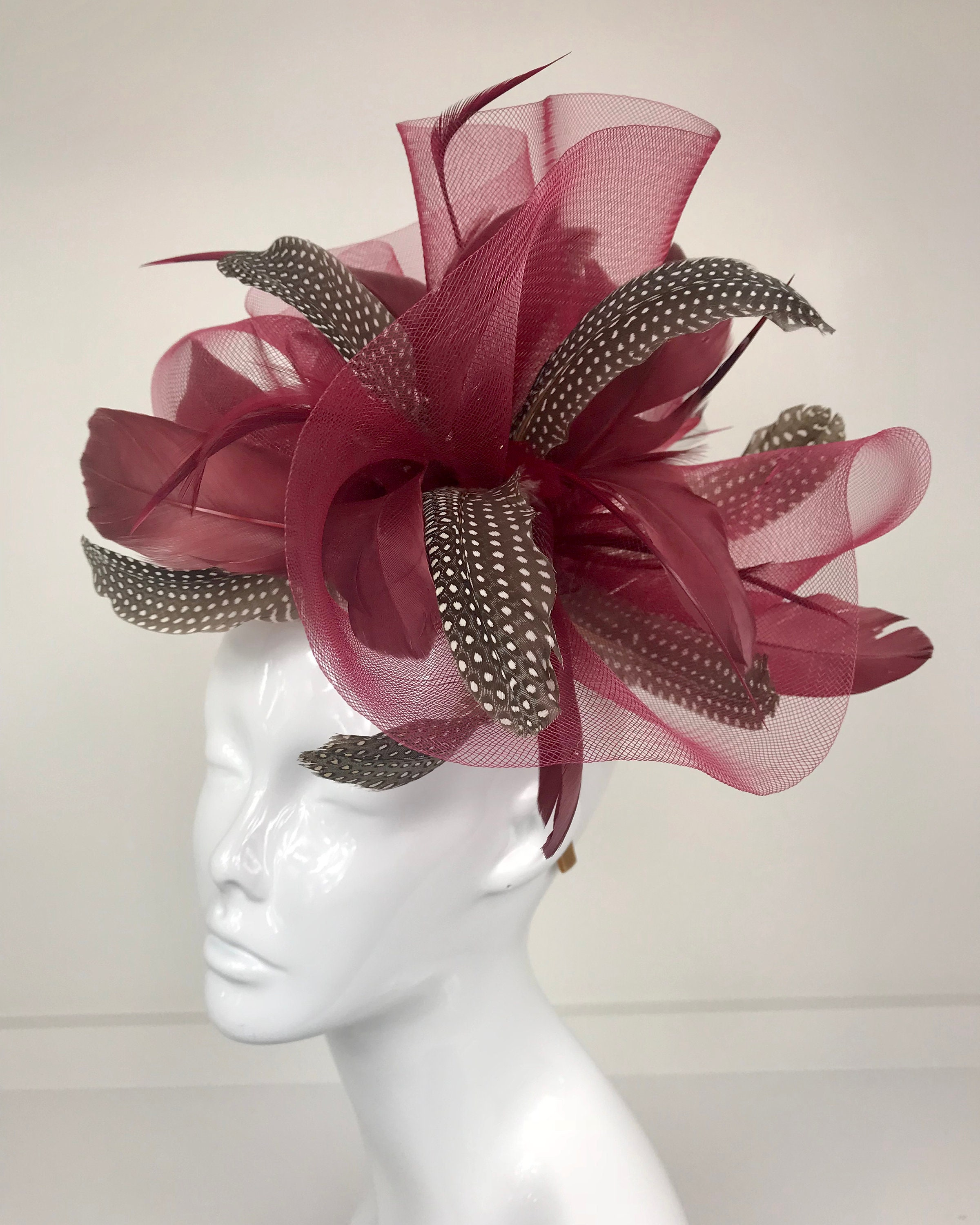 Maroon Fascinator Feather Hat Pheasant Feather Derby Hat  fc636d89d71