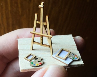 1:48 Easel- Arts & Crafts- Quarter Scale Artisan Dollhouse Miniature- 1/4