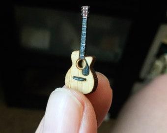 1:48 Acoustic Guitar- Quarter Scale Artisan Dollhouse Miniature- 1/4