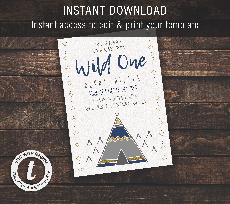 Wild One Boy 1st Birthday Invitation Template Boy Kid Etsy