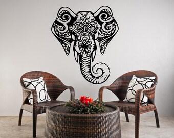 Elephant ganesha art wall vinyl removable wall decal Ganesha om elephant tattoo FS @ 29