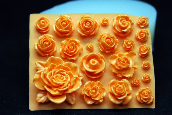 Garden Rose Veiner Silicone Mold Chocolate Polymer Clay Jewelry Soap Wax Resin