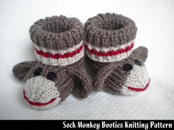 Sock Monkey Baby Booties Knitting Pattern Etsy