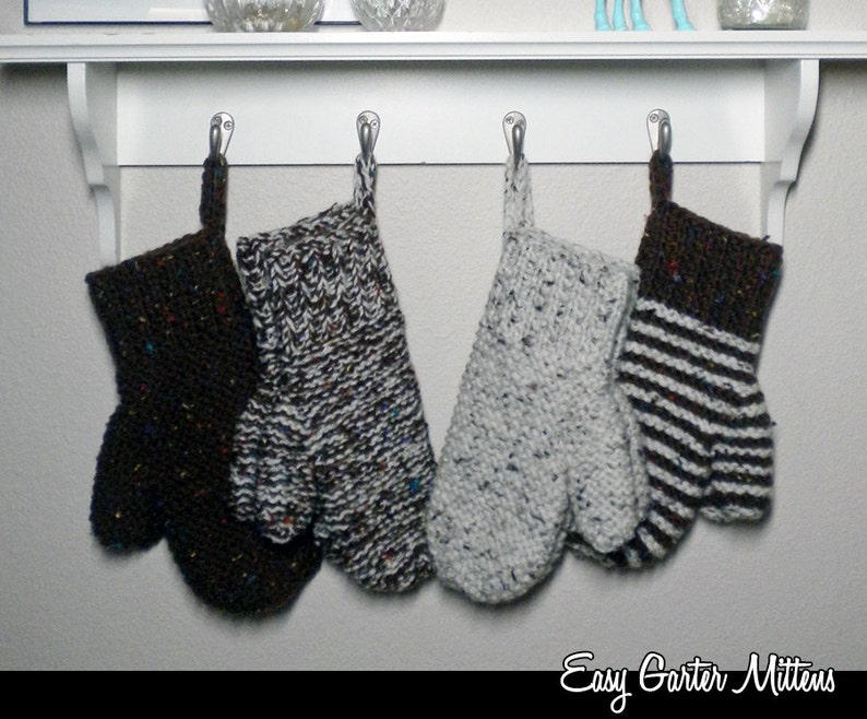 Easy Garter Mittens on 2 Needles knitting pattern   Etsy