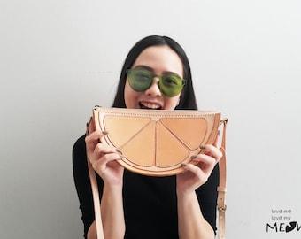 Lemon Purse Leather Crossbody Bag Handmade Structured Zippered Shoulder Bag
