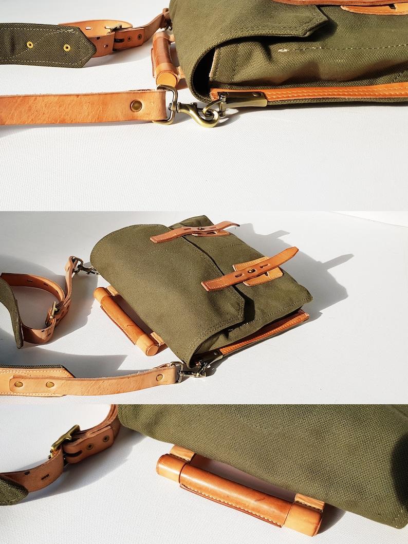 Canvas Crossbody Bag Canvas Shoulder Bag Women Satchel Men satchel Big Strap Bag Military Chic College Bag