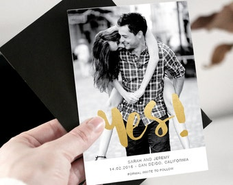 Save-the-Date-Printable Invitations Faux Gold Foil Digital File-Photo Card-Announcement Invites Post Card Digital Printable STD_008