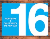 Funny Birthday Card 16 Year Old Dont Wreck Your New Car Humor Hilarious Joke Fold Happy Bday Greeting Digital Printable
