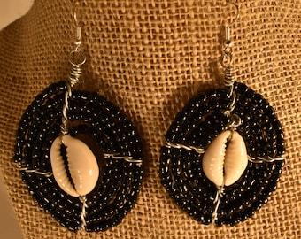 Beaded Massai Earrings. Black