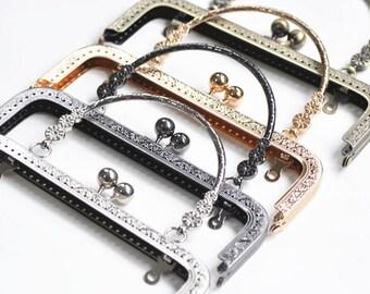 Prettyia Pearl Bead Head Clasp Purse Clutch Handle Bag Square Metal Frame Bag making Supplies 20cm 20cm silver