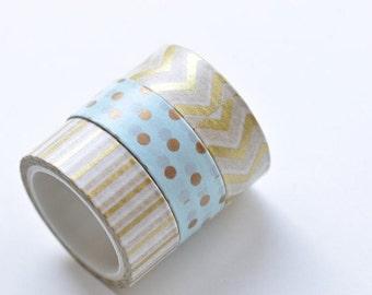 Dot Stripe Chevron Washi Tape Set 15mm Wide x 5M  3 Rolls A Set No.12945