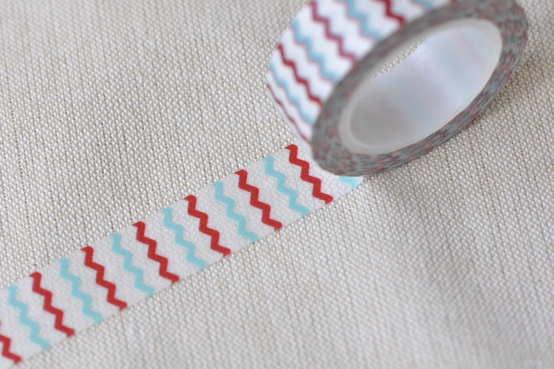 Blue And Red Wave Washi Tape Scrapbook Supply 15mm wide x 10m long No 12396