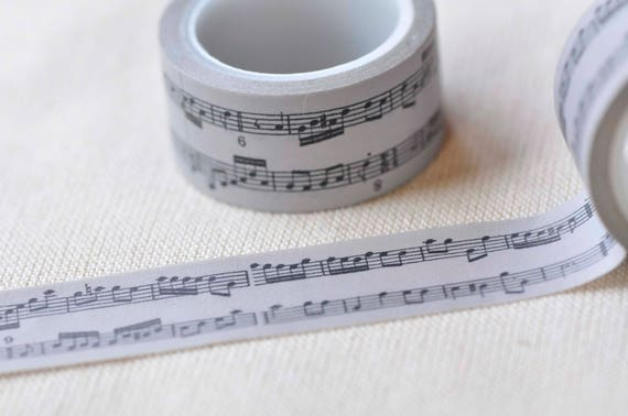 Masking tape for crafts Buy in a set or choose one! Music Washi Tape \u2022 Piano \u2022 musical notes 1,5cm x 10m