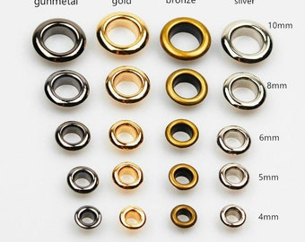 Brass Eyelet With Washer Leather Craft Repair Grommet Inner Size 4mm 5mm 6mm 8mm 10mm/Pick Color And Size/ 10 Sets A Pack