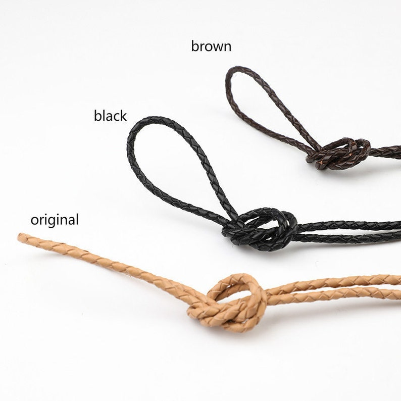 4mm Width Cowhide Braided Leather Strap 50cm