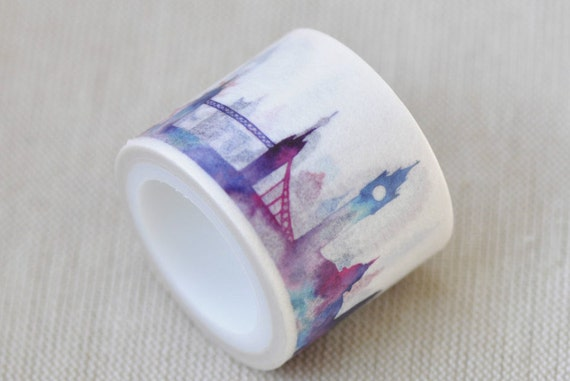 "1.18"" (30mm) Width Classic Architecture Eiffel Tower Panorama Washi Tape Wide Masking Tape  5.5 yards No.12066"