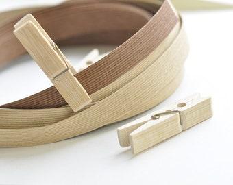 "Wood Clip Clothes Pins 10pcs A Pack Paper Band, Wedding Decorations, Wedding Clothespins, Photo Hanger 2"" long (6 cm)"