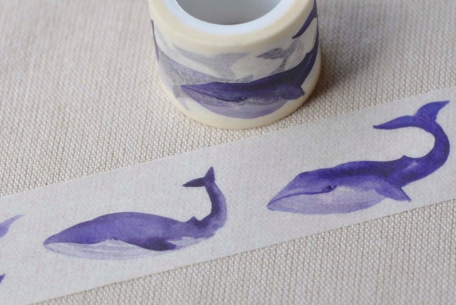 Lovely Whale Washi Tape 30mm wide x 5m long (approx. 1.2 inch wide x 5.5 yards long) No.13100