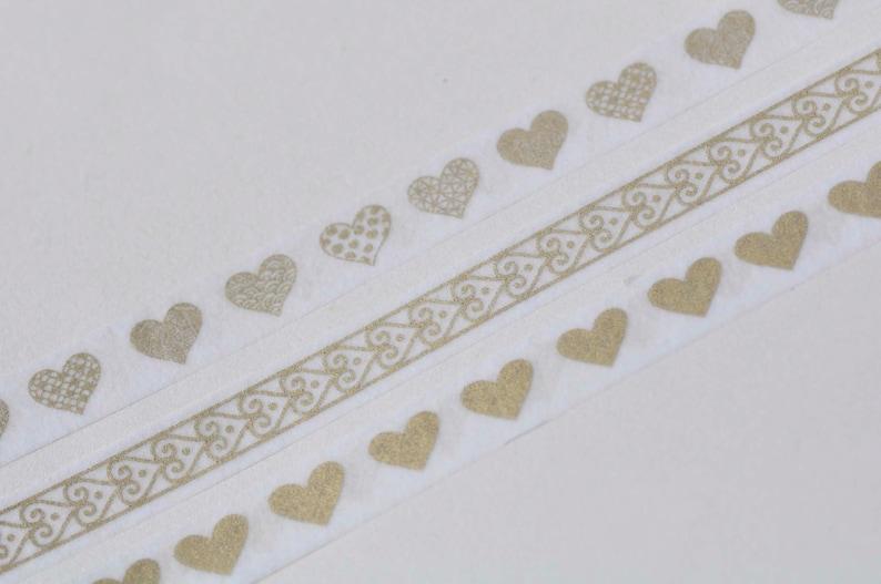 Foil Gold Love Heart Washi Tape Set  3 Rolls A Set 5mm Wide x 5M Long No.13175